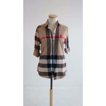 Camisa Escocesa Mujer Entallada Nueva Super Fina