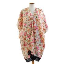 Kimono Betty De Raso Mangas Corta Estampa Mujer Super Amplio
