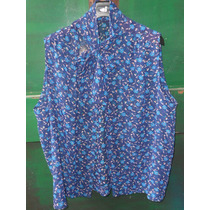 Camisa De Gasa Sin Mangas Abrocha Con Lazo