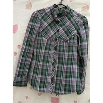 Camisa Blusa Tela Cuadrille Talle M