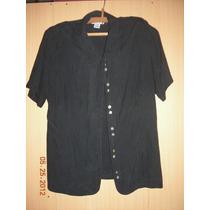 Camisa De Seda Negra Entallada. Liquido Ya! Importada