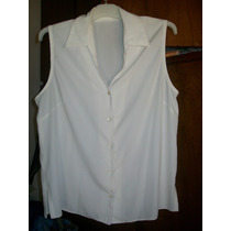 Camisa De Seda Sin Mangas Talle 48/50 Amplio Con Pinzas