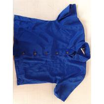 Blusa Azul De Seda, Hermoso Botones Y Color!