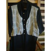 Camisa De Seda Transparente Negra Con Pechera
