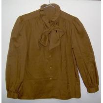 Blusa Camisa Color Habano Cuello Voladito C/lazo Como Nueva