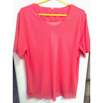 Blusa De Simil Gasa.color¡¡coral!!el Color De Moda.
