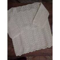 Remera Tejida Crochet Blanca Con Perlas