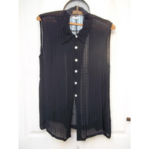 Camisa Camisola Negra T 44 Transparencia Hermosa! M P Envío