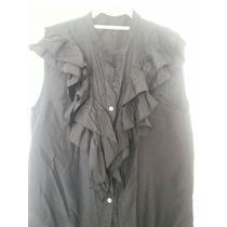 Camisa Maria Cher Impecable C Bolados En Negro S M A Mangas