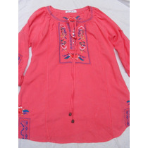 Camisa Blusa Camisola Coral Bordada Larga Nueva Talle M