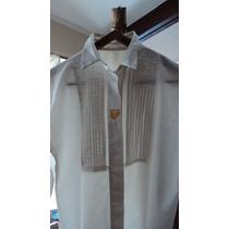 Fina Camisa Blanca Con Tablitas/ Jabot, Talle M-l