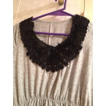 Elegante Blusa Gris Con Aplique Negro Y Cintura Elastizada M