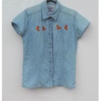 Camisa De Jean Bordada Vintage