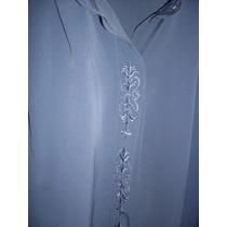 Camisa Azul Grande Xl Bordada Manga Larga