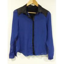 Camisa Con Transparencias Azul Y Detalles En Verocuer T-m