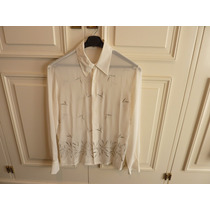 Camisa De Seda Color Crema Bordada . Bellisima