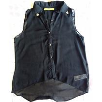 Camisa Rapsodia S/ Mangas Gasa Negro Transparencia Nueva