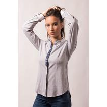 Camisa Gris Elastizada Con Detalles Paño Azul/blanco Giacca