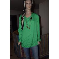 Maria Cher Blusa De Fibrana Color Verde Promo