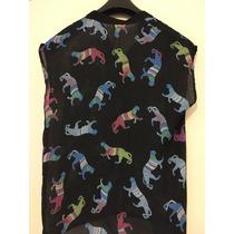 Camisa De Gasa - Color Negro Con Dibujos - Talle L