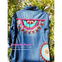 Camisas Jean Pintadas A Mano Y Tachas, Exclusivas, Talle 38