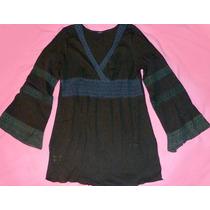 Camisola De Bambula Negra Con Puntillas
