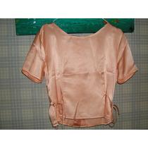 Blusa Juvenil Manga Corta (color Salmón) De Vestir
