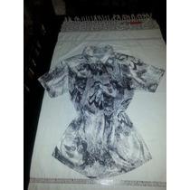Camisa Floreada Talle M Negro/ Blanco Cintura Elastizada
