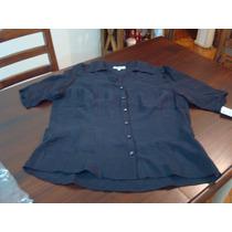 Camisa De Seda Etam Talle 3 Negra
