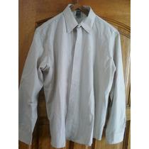 Camisa De Vestir Talle L-marca Tiziana De Color Beige