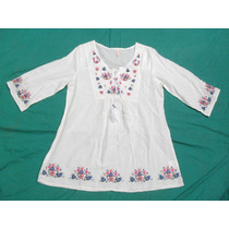 Camisa Blusa Camisola Bordada Blanca Mujer Nueva Talle M