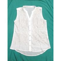 Camisa Camisola Gasa Blanca Bordada Sin Mangas Nueva Tale Xl
