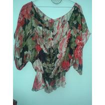 Camisa-blusa De Gasa Estampada P/mujer. Talle M