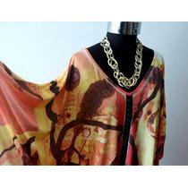 Blusa Tunica Mujer Seda Fria Sublimada Talles Amplios