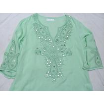 Camisola Camisa Verde Bordada Manga 3/4 Nueva Talle M