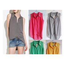 Camisas Sin Mangas Tela Sedosa Con Puntas En Cuellos