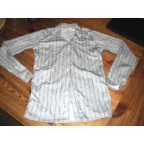 Camisa Gris Y Blanca Entallada De Tela Con Spandex Nueva