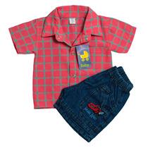 Camisa Manga Corta Bebe Y Short De Jeans