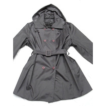 Piloto Impermeable Mujer Gris Con Capucha Talle Especial 6