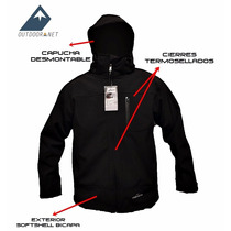 Campera Softshell Mujer Capucha Desmon Impermeable Windprof