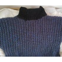 Sweater Lana Gorda Cuello Alto Tejido A Mano¡rebajado!