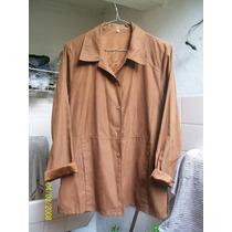 Camisa Saco Blazer Microfibra Color Chocolate Media Estacion