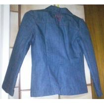 Blazer De Jean Azul Con Rojo. Talle 8. Marca Holamanola.