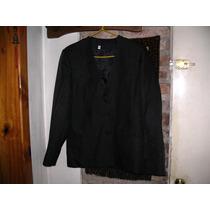 Saco Blazer Entallado Negro Escote V Spenser T 44 Excelente