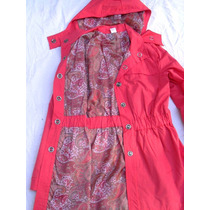 Piloto Campera Impermeable Trench Coral Forado Nuevo Talle M