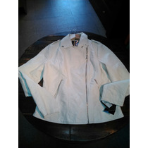Campera De Cuero Blanca Guess Los Angeles
