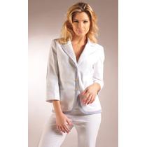 Blazer Blanco Combinado Con Guarda Rayada Azul Giacca