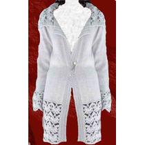 Saco Crochet Color Blanco~gris~negro Tejido Otoño Invierno