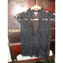 Camisa De Encaje Negra Importada