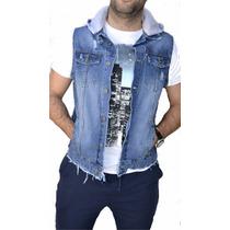 Chaleco De Jeans Con Capucha Hombre